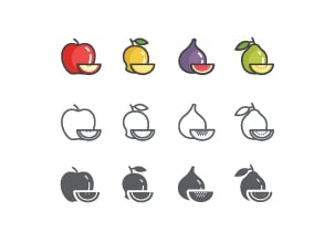3 Styles Fruit Icons